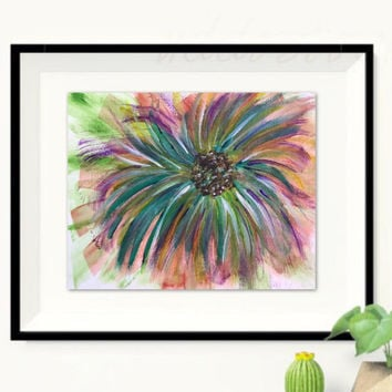 Abstract Original Floral painting, Flower art, Modern floral art, Contemporary Purple Painting of Original Flower
