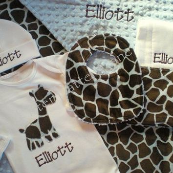 Baby Boy Gift Set - Personalized Layette Gown, Hat, Burp Cloth, Minky Blanket and Dribbler Bib - Blue Giraffe