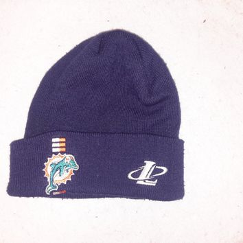 Vtg Miami Dolphins Cuffed Logo Athletic Beanie hat Winter cap Retro 90s Style toque knit skullie