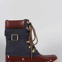Liliana Denim Buckled Strap Lace Up Duck Ankle Boots