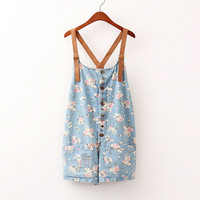 Vintage flower denim leather braces shorts flower blue suspender shorts from Sweetbox Store