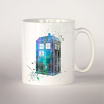 Tardis Dr Who coffee mug, watercolor Tea Cup, coffee cup 11 oz. Mug art, Ceramic Mug, Tardis Doctor Who watercolor art print, movie art