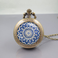 Mandala Pocket Watch Locket Necklace, Mandala pattern Minority Totem, vintage pendant Pocket Watch Locket Necklace