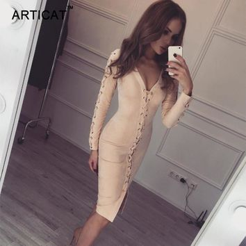 Articat Sexy Long Sleeve Suede Leather Bandage Dress Autumn Winter V Neck Bodycon Pencil Dress Vintage Party Club Dress Vestidos