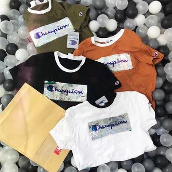 Champion New Fashion Sequin Shining Bust Logo Tee Shirt Full Color Lapel Top Four Color