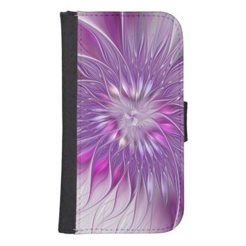 Pink Flower Passion Abstract Fractal Art Wallet Phone Case For Samsung Galaxy S4
