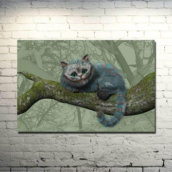Alice in Wonderland Movie Art Silk Fabric Poster Print 13x20 24x36 inches Cheshire Cat Wall Pictures For Living Room Decor 011