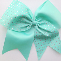 Tiffany Blue Rhinestone Cheer Bow