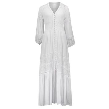 Young17 Autumn Dress Women White See-Through Patchwork Lace Button Ankle-Length V-Neck Pullover Dress Bohemian Day Dress