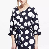 Blue Polka Doted V-Neck Dress with Sash