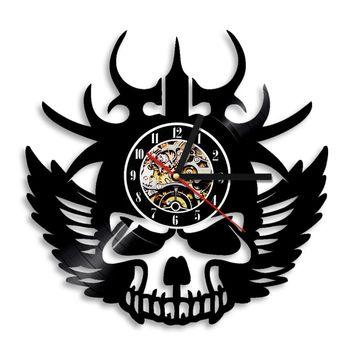 1Piece Viking Skull Wall Clock Exclusive Wall Clock Made Of Vinyl Record Halloween Skull Clock Gothic Home Decor