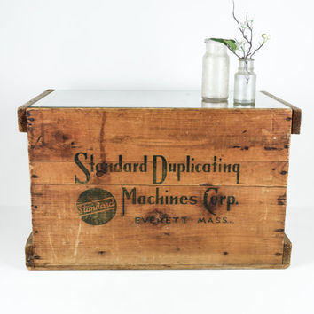 Vintage Wood Crate Table with Glass Top / Industrial Storage