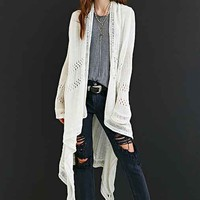 Ecote High/Low Drapey Open-Front Cardigan Sweater- Ivory