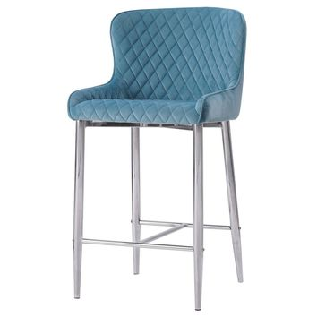 Miles Velvet Fabric Counter Stool Conrad Teal (Set of 2)