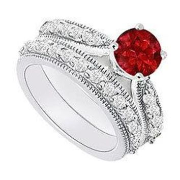 14K White Gold : Ruby and Diamond Engagement Ring with Wedding Band Set 1.15 CT TGW