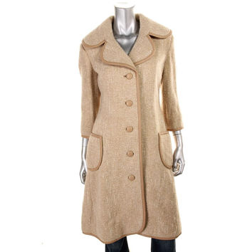 Catherine Malandrino Womens Wool Leather Trim Coat