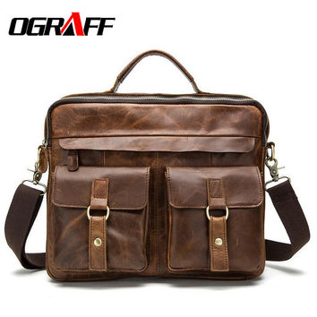 OGRAFF Genuine leather bag designer handbags high quality Cowhide tote briefcases brand business crossbody bag men messenger bag