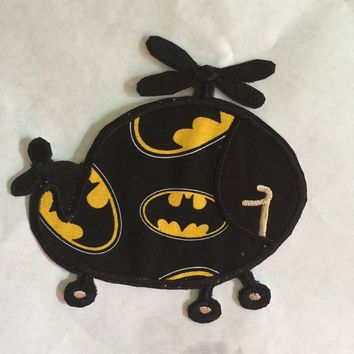 Iron on helicopter applique  batman Cute patch Large Patch DIY Toddler boys BirthdayShirt