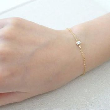 Simple Bracelert Thin Chain Zircon Charm Bracelet Silver And Gold Chain Zircon Jewelry For Women Girl Charm Bracelet