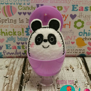 Tiny stuffed panda egg buddy, embroidered, party favor, stuffed animal, stuffie, travel toy, stuffed toy, embroidery, grab bag, easter