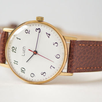 Ultra slim men's wristwatch Ray gold plated watch classic wristwatch mint condition premium leather strap new