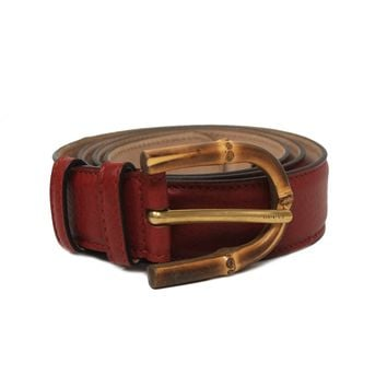 Gucci Women's Red Bamboo Buckle Leather Belt 322954 (85/34)