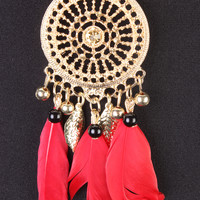 Red Cutout Pendant Dangling Feathers Necklace