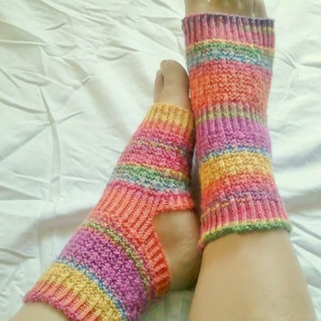 Toeless Yoga Socks Hand Knit in Rainbow Stripes by MadebyMegShop