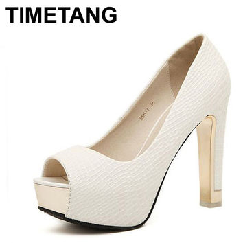 TIMETANG High quality summer sping sexy fashion peep simple sandals all-match rough simple pumps women square high heels shoes