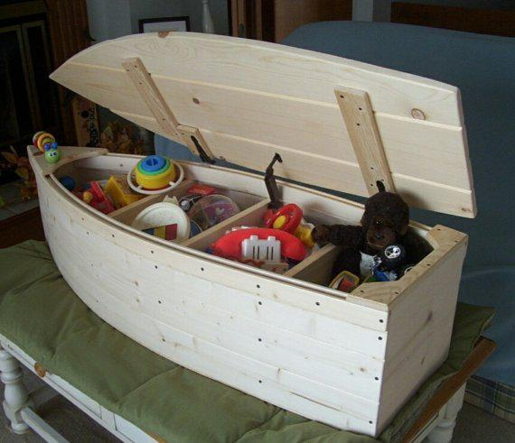 Wood Boat Toy Box Nautical Chest Hand From Poppasboats On Etsy
