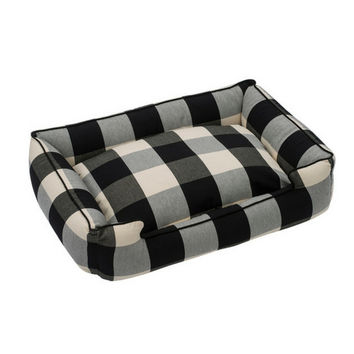 Lounge Dog Bed — Black Buffalo Check