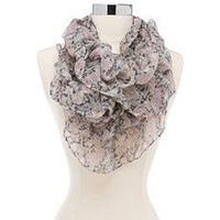 Scrunched Floral Lightweight Scarf: Charlotte Russe
