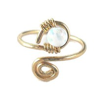White Fire Opal Wrapped Hammered 14K Gold Filled Spiral Toe-Midi-Knuckle Ring Adjustable Size