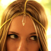 Gold Chain Head Piece with Crystal Charm by NativeLivingJewelry