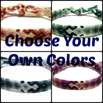 You Choose The Colors ~ Custom Made Arrowhead Pattern Embroidery Friendship Bracelet, Descending Diamond Pattern Friendship Bracelet