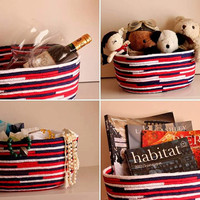 Red/White/Blue Basket,  Modern Basket/Bowl, Handmade Multicolour Basket