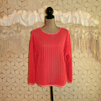 Boho Crochet Sweater Pullover Tunic Sweater Cotton Coral Pink Open Weave Long Sleeve Oversize Sweater XL Plus Size Large Womens Clothing