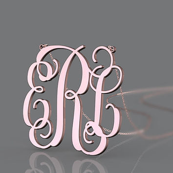 Pink rose gold plated monogram necklace 1 inch ERC style monogram customized jewelry