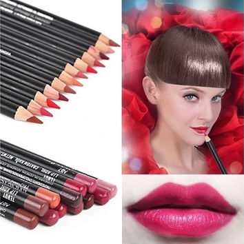 12 color durable waterproof lip Liner Pencil