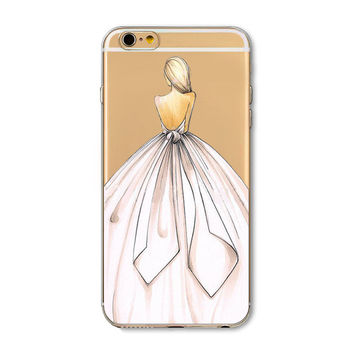 pPback of girl in white wedding gown phone Case for iPhone 7 6 6s