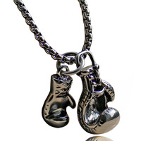 Boxing Gloves Pendant Necklace Stainless Steel Men Jewelry MMA Fitness Bodybuilding Gym Necklace Fighter Necklace 23''