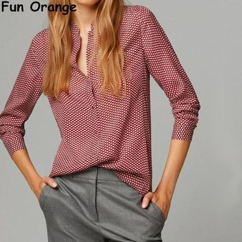 CREYYN6 Fun Orange New Fashion Ladies elegant red leaves print blouses vintage stand collar long sleeve OL shirts casual slim brand tops