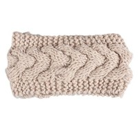Knitted Floral Headband Warm Ear Warmer Headwrap & Hairband (2# beige)