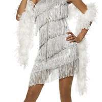BEST SELLER! Dazzling Silver Flapper Costume - Unique Vintage - Prom dresses, retro dresses, retro swimsuits.