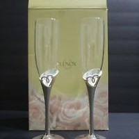 """LENOX 2 WEDDING FLUTES Crystal & Silver """"Forevermore"""" Toasting Champagne"""