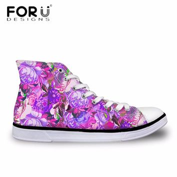 FORUDESIGNS 3D Art Flower Printing Casual Canvas Shoes for Women Classic High Top Vulc