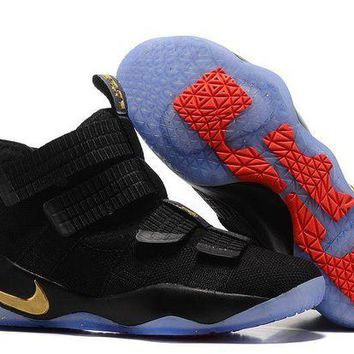 DCCKL8A Jacklish New Nike Soldier 11 Black And Gold Lebron James Pe Basketball Shoes