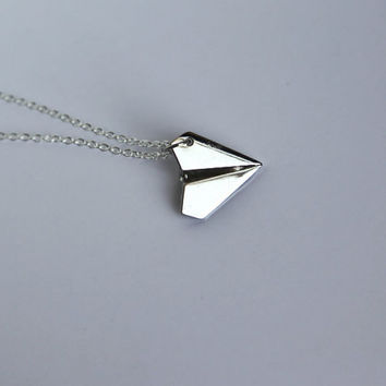 Paper Airplane Necklace 925 Sterling Silver Chain by CharmTopia