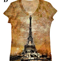 woman Eiffel Tower night view print top, t shirt and tank xs-plus size