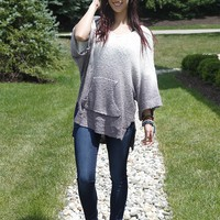 Ombre Front Pocket Top - Ash